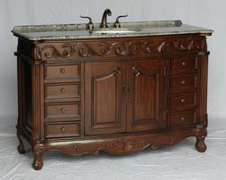 54 inch antique style single sink bathroom