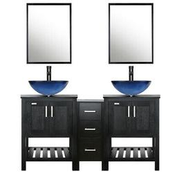 "60"" Bathroom Vanity Modern Mirror Double Vessel Sink Faucet"