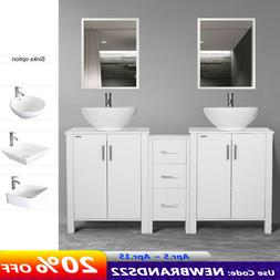 "60"" Bathroom Vanity W/Ceramic Vessel Sink Cabinet Top Mirror"