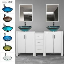 "60"" Bathroom White Vanity W/Round Square Vessel Sink Faucet"