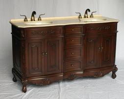 60 inch antique style double sink bathroom