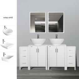 "72"" Bathroom Vanity W/Ceramic Vessel Sink Cabinet Top Mirror"