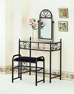 Metal 2-piece Vanity Set Black and Clear
