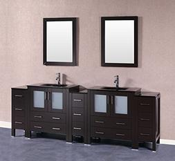 "Bosconi A230BGU3S 96"" Free Standing Vanity Set with Wood Cab"