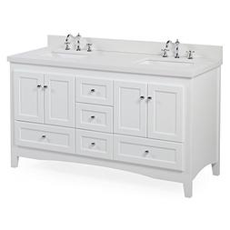 Abbey 60-inch Double Bathroom Vanity : Includes a White Cabi