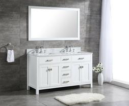 ALL WOOD High-End 60-inch White Shaker Double Bathroom Vanit