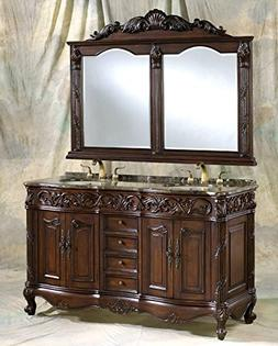 60-Inch Antique Style Double Sink Bathroom Vanity Set with M