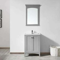 Vinnova Asti 24-inch Grey Single Vanity with White Drop-in P