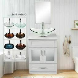 "24"" White Bathroom Vanity Cabinet W/ Mirror Organizer Vessel"