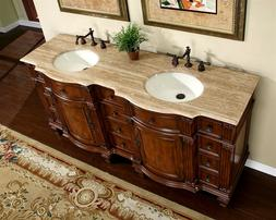 72-inch Bathroom Cabinet Double Sink Vanity Travertine Top B