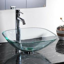 Bathroom Lavatory Tempered Glass Vessel Sink Natural Clear S