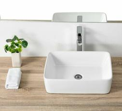 Bathroom Rectangle Ceramic Vessel Sink Vanity Pop Up Drain M