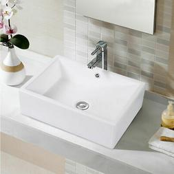 20-Inch Bathroom Rectangle Ceramic Vessel Sink Vanity Pop Up