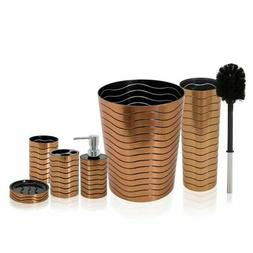 SereneLife 6 Piece Bathroom & Sink Accessory Set - Bronze Fi