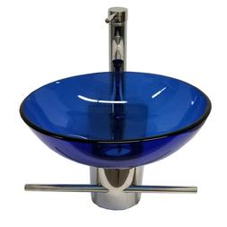 Bathroom Vanities Blue Sink Glass Vessel Stainless Steel Ped