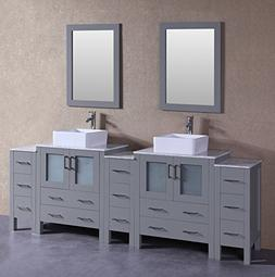 "Bosconi Bathroom Vanities 96"" Classic Double Vanity Set With"