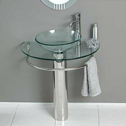 "30"" Bathroom Vanities LV-006 Glass Vessel Sink Pedestal Fauc"