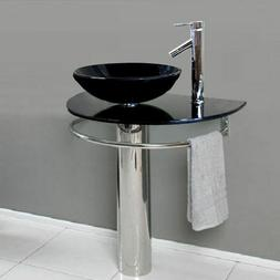 Bathroom Vanities LV-006Black Glass Vessel Sink Pedestal Fau