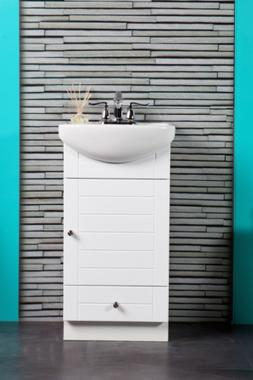 SMALL BATHROOM VANITY CABINET AND SINK WHITE - PE1612W NEW P