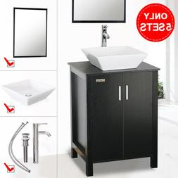 "24"" inch Black Bathroom Vanity Single W/Mirror Top Ceramic S"