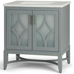 "Simpli Home Bristol 31"" Marble Top Bathroom Vanity in Stone"