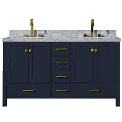 "ARIEL Cambridge 61"" Inch Midnight Blue Double Vanity with Re"