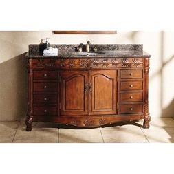 60 in. Classic Bathroom Vanity in Cherry and Brown