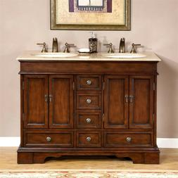 "48"" Compact Travertine Stone Top Bathroom Vanity Small Doubl"