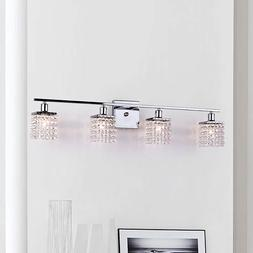 Crystal Vanity Light Bar Chrome Wall Sconce 4 Lights Mirror