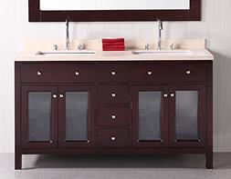 Design Element DEC302A Venetian 60 Inch Double Sink Vanity S