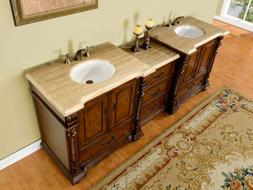 "92"" Double Sink Bathroom Vanity Travertine Stone Countertop"