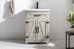 "URBAN FURNISHING ETHAN 24"" SINGLE FARMHOUSE BATHROOM VANITY"