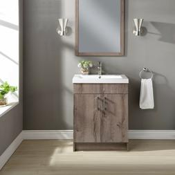 Mainstays Farmhouse 24.4 Inch Rustic Gray Single Sink Bathro