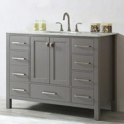 Vinnova Gela 48-inch Single Vanity in Grey with Carrera Whit