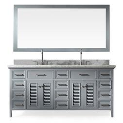 "ARIEL 73"" Inch Double Sink Bathroom Vanity Set In Grey"