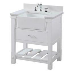 "KBC Charlotte 30"" Vanity Cabinet with Quartz Stone Top in Wh"