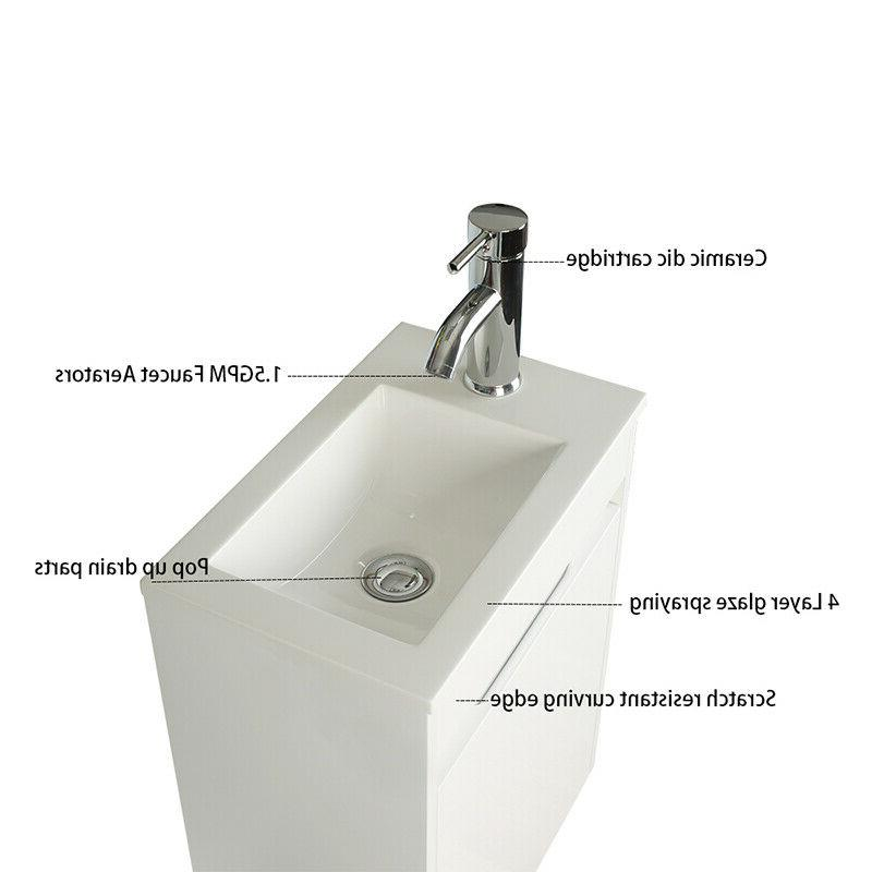 16'' Bathroom Floating Mounted Ceramics Sink Faucet