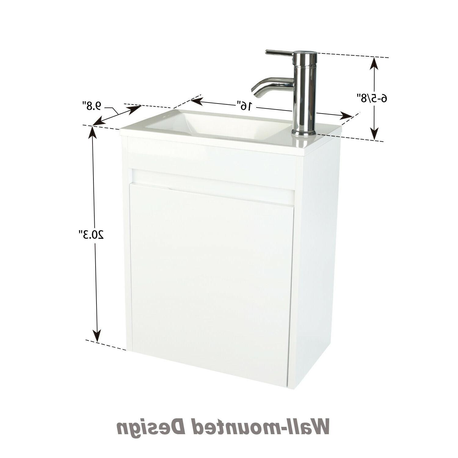 16'' Bathroom Vanity Floating Wall Sink Faucet