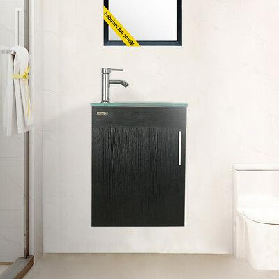 "Wall Mount 19"" Bathroom Vanity Cabinet W/Glass Sink Faucet D"