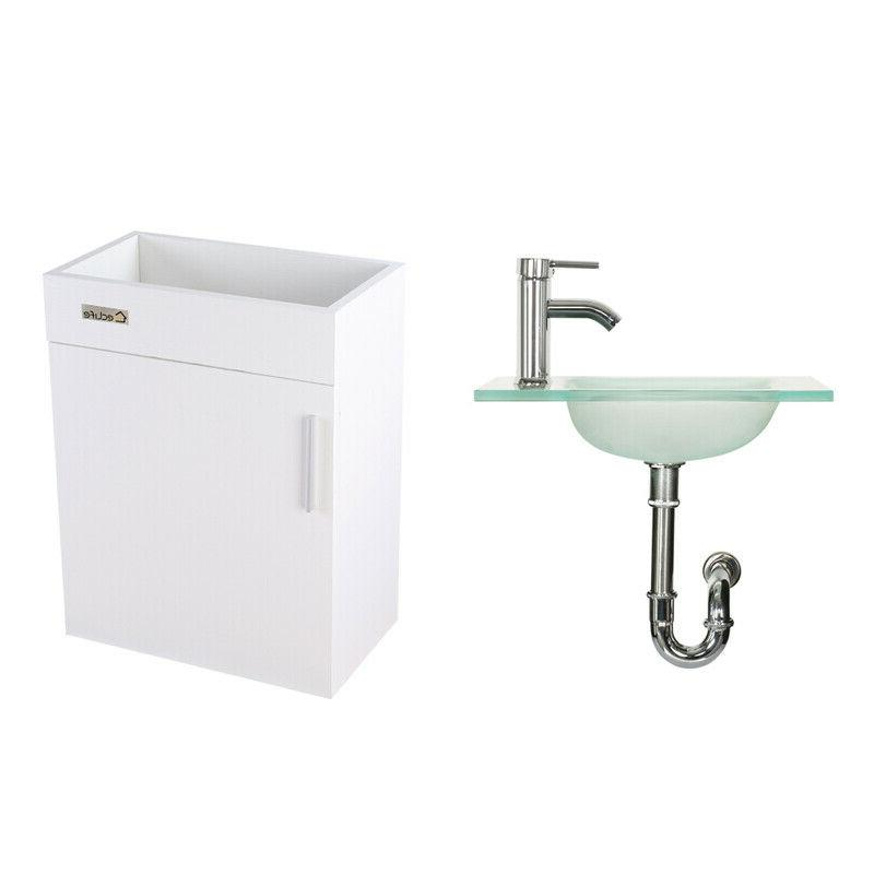 """19"""" Wall Vanity Cabinet Faucet Drain White"""