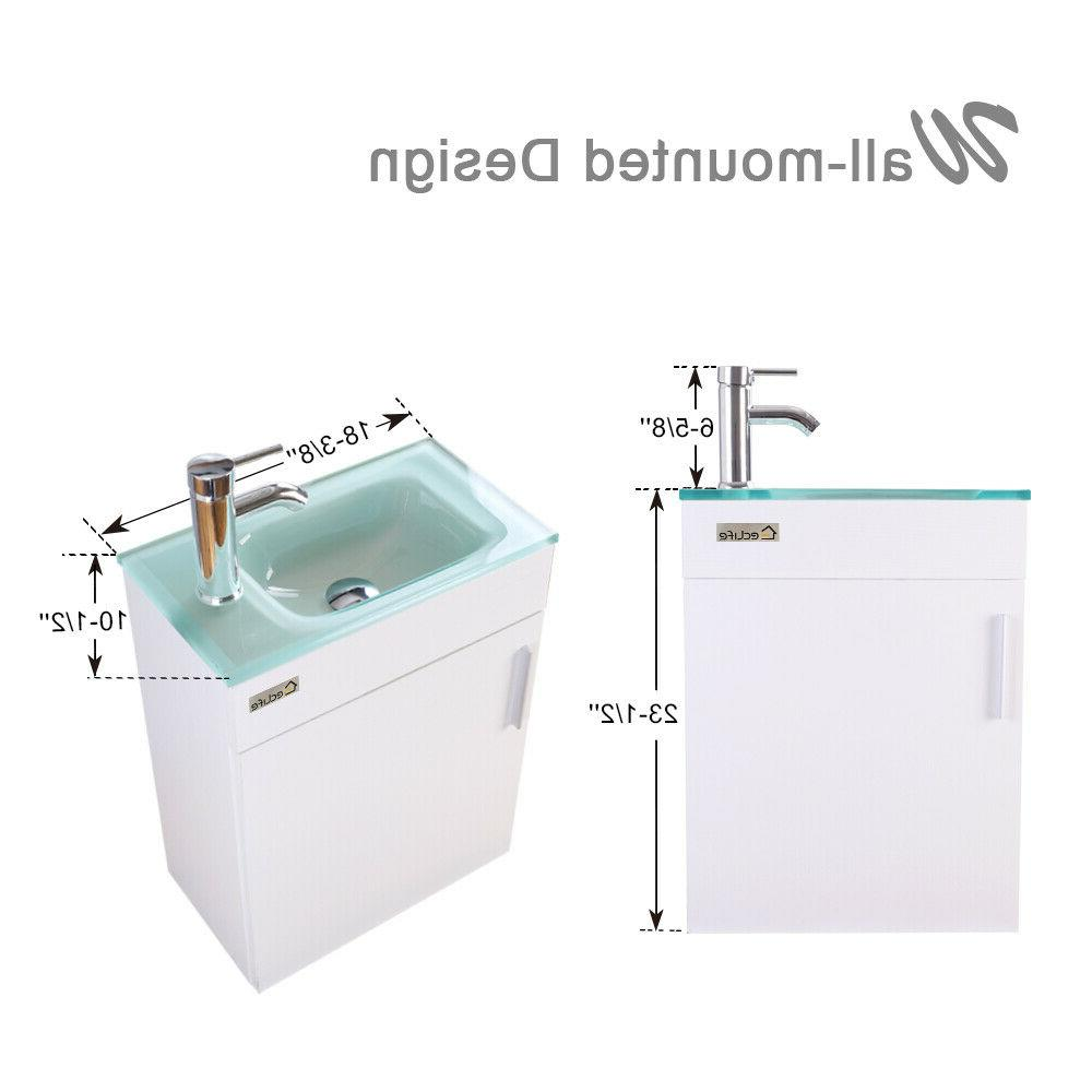 """19"""" Mount Vanity Cabinet Glass Faucet Combo White"""