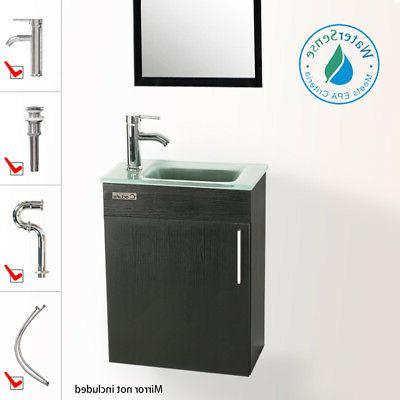 "19"" Vanity Small Wall Sink Faucet Drain Combo P Trap"