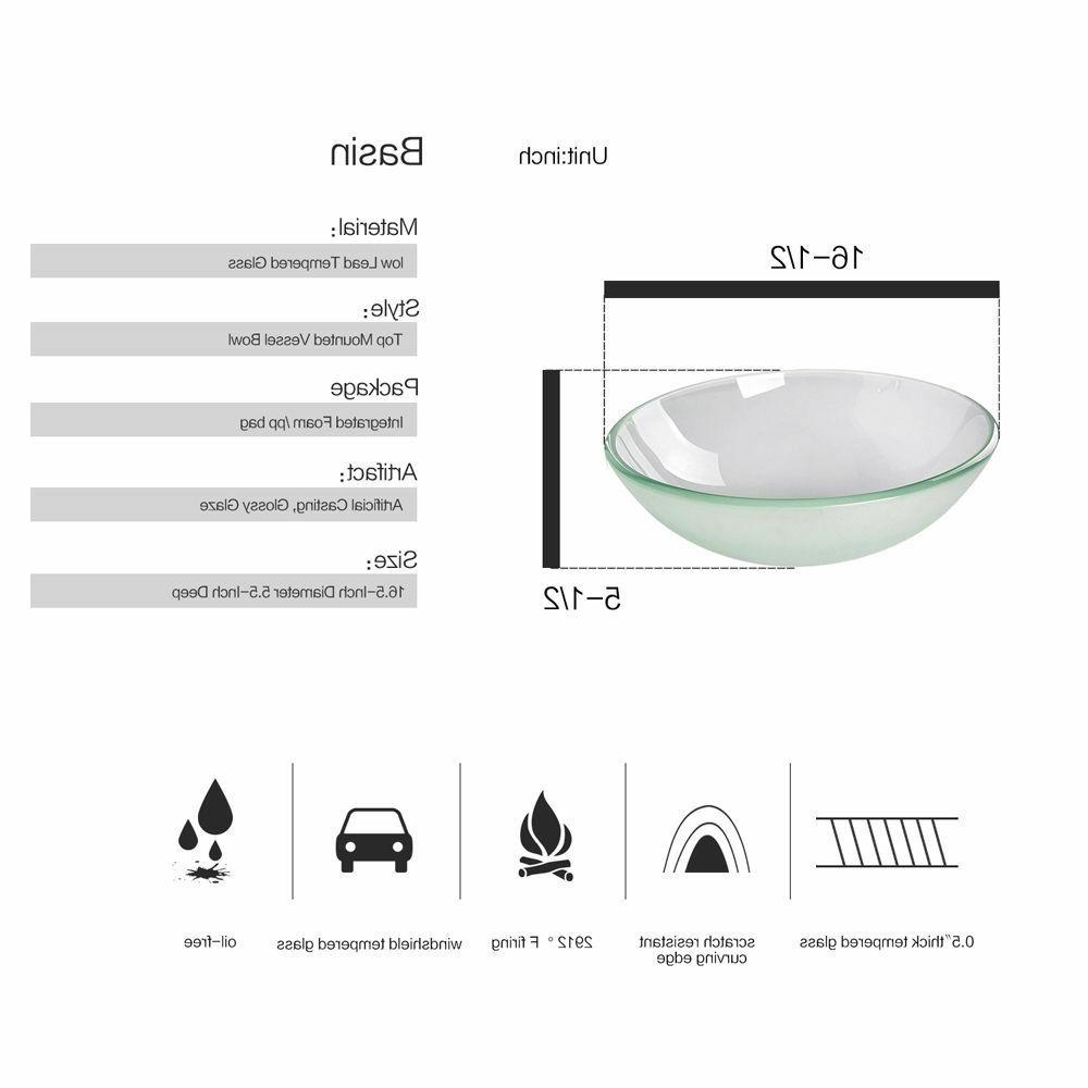 24'' Bathroom Vanity Top Frosted Sink Bowl Combo