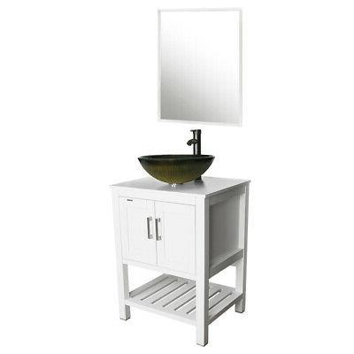 "24"" Bathroom W/ Mirror Glass Vessel Sink Combo White"