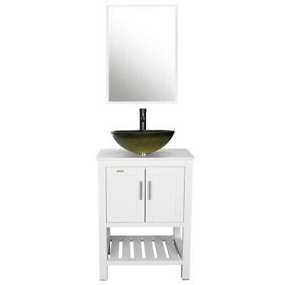 24 bathroom vanity cabinet w mirror glass