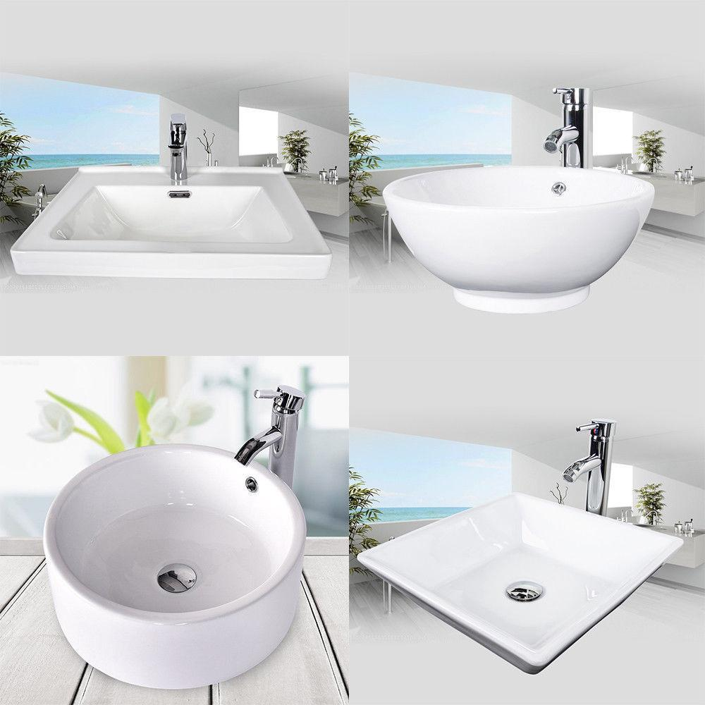 24'' Vanity Floor Cabinet Top Vessel Sink Basin Set