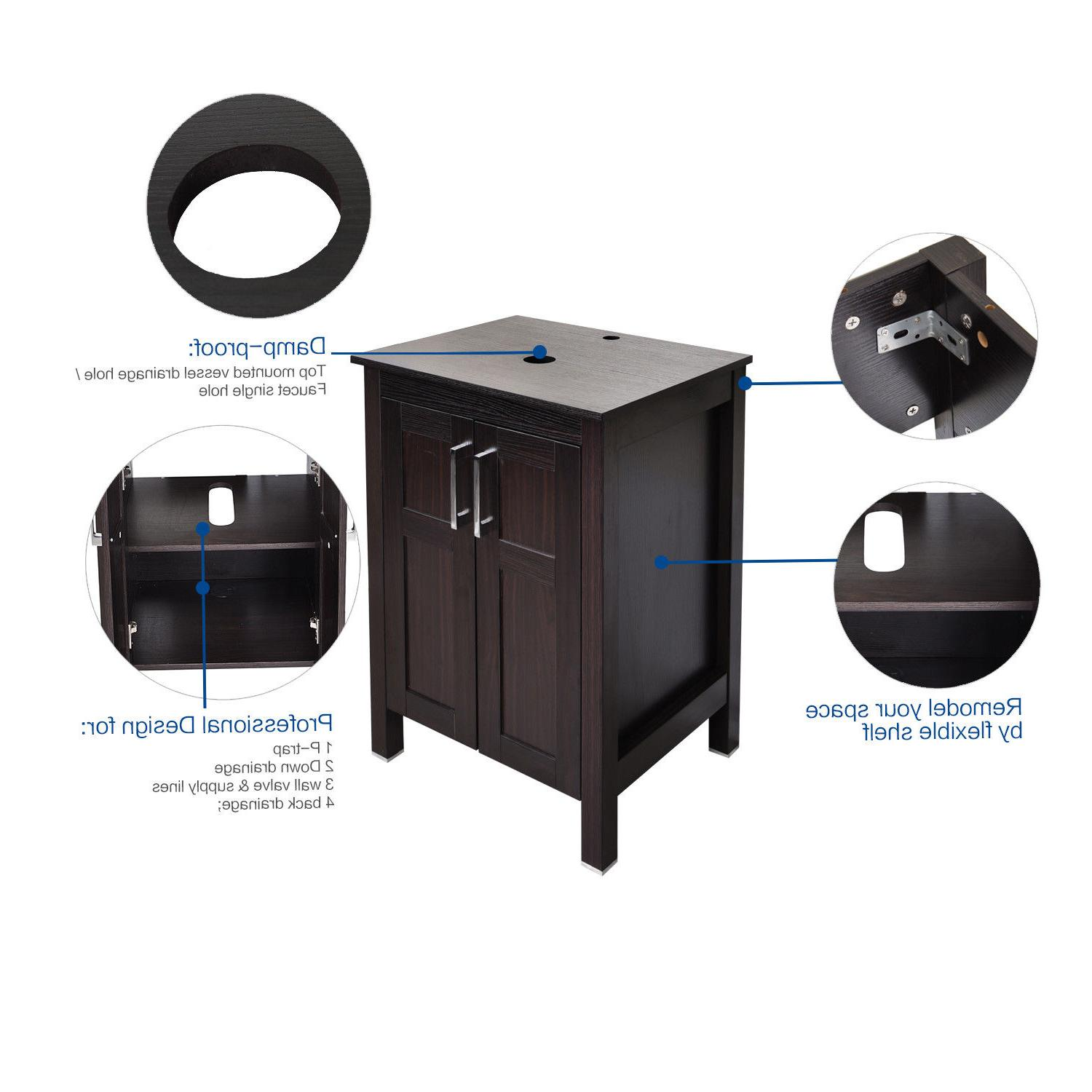 24'' Bathroom Vanity Cabinet Sink Bowl Combo