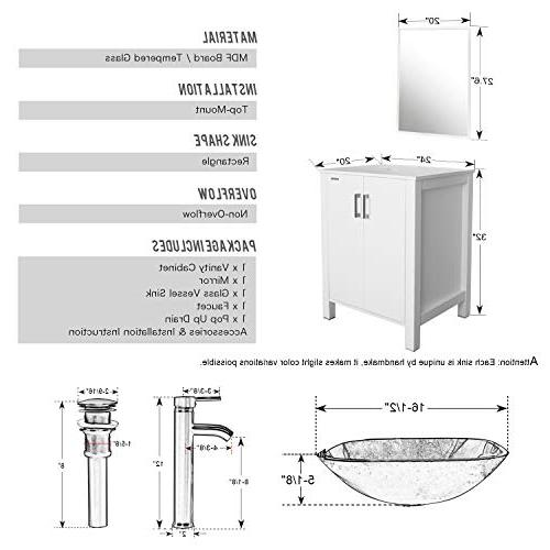 """eclife 24"""" Sink Combo Cabinet Vanity Square Glass Sink 1.5 Faucet Pop With Mirror"""