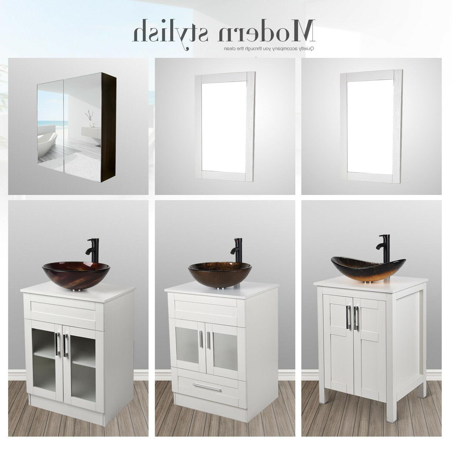 24 bathroom vanity wood floor cabinet vessel