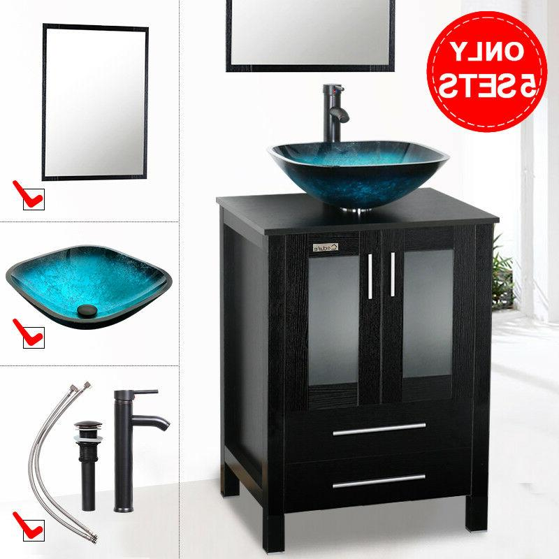 24 black bathroom vanity cabinet mirror vessel